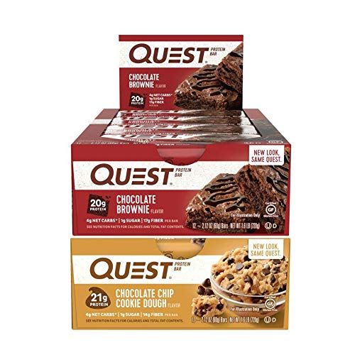 (Quest Nutrition Protein Bar Chocolate Fanatics Mix-Up (Chocolate Brownie + Chocolate Chip Cookie Dough). Low Carb Meal Replacement Bar w/ 20g Protein. High Fiber, Soy-Free, Gluten-Free (24 Count))