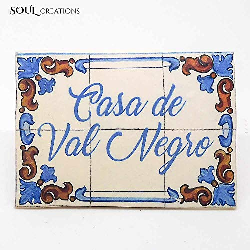 Get Your Personalized Text with an Exciting Old Traditional Portuguese Tile Design created with Kato Polymer Clay, Great gift for Housewarming or ()