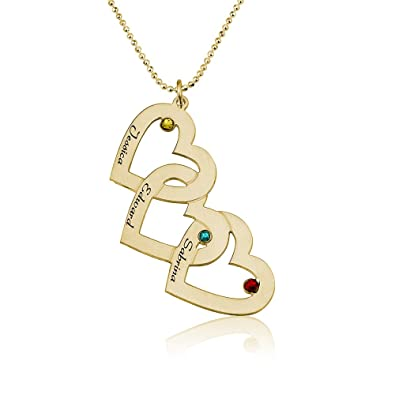 e60c9ab92 Amazon.com: Love Pendant with Birthstones Triple Heart Birthstones Necklace  in Gold Plating - For Mother Mom - Engraved with 3 Names (14): Jewelry