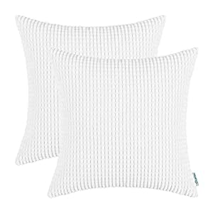 pack of 2 calitime throw pillow covers cases for couch sofa bed comfortable supersoft corduroy corn striped both sides 20 x 20 inches white