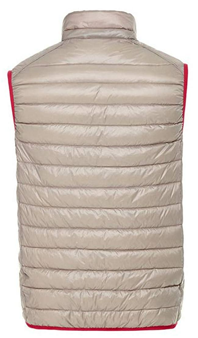 Pcutrone Mens Winter Reversible Quilted Stand Collar Lightweight Pocket Jacket Down Vest