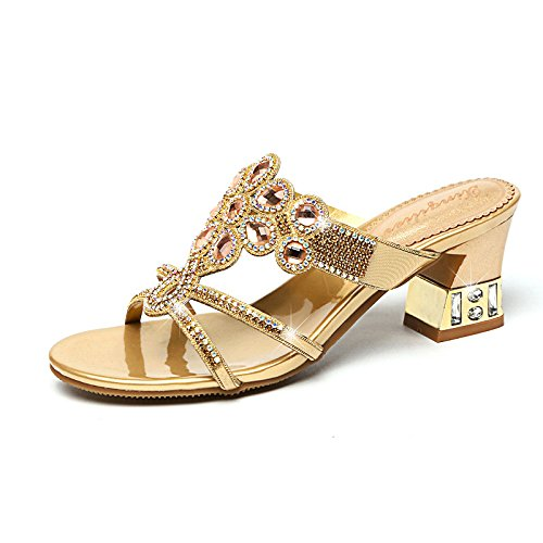 slip women's Breathable flops AWXJX resistant flip Wear with Diamond Golden Thick summer Non Artificial 1xxqwZP