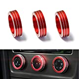 iJDMTOY 3pcs Anodized Aluminum AC Climate Control Ring Knob Covers For Volkswagen MK7 Golf GTI (Red)