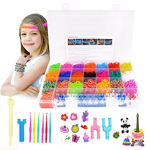 LovesTown Rainbow Rubber Bands Loom Set,4400 Premium Loom Bands 22 Colors, 10 Pendants,2 Y Looms,1 Weaver,1 Big Crochet,6 Small Crochets,48 S Buckles,Organizer for DIY Jewelry Dolls Hats Skirts