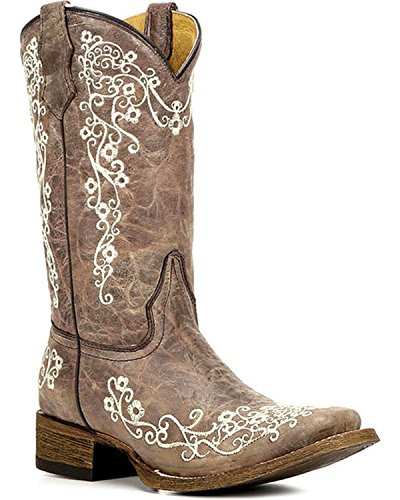 Corral Girls' Crater Bone Embroidered Cowgirl Boot Square Toe Brown 3 (Bone Brown)