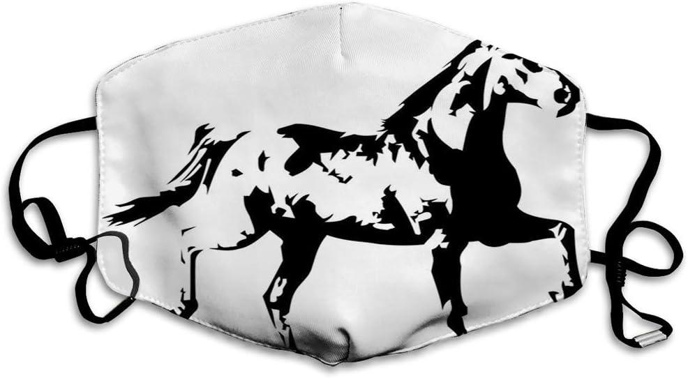 Cómoda máscara a Prueba de Viento, Animal, Tema Animal, una ilustración de Silueta de Caballo Corriendo en Estilo monocromático, Blanco y Negro