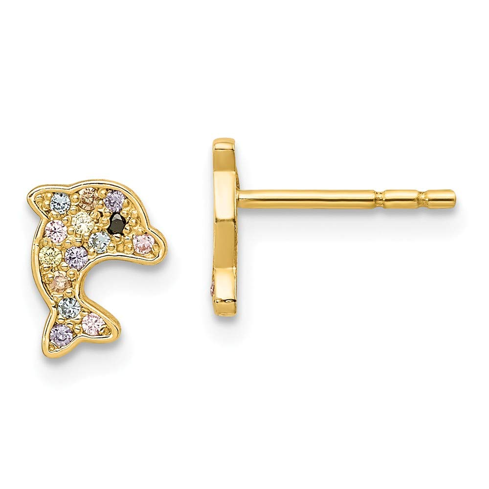 14k Yellow Gold Madi K Multi-colored CZ Dolphin Post Earrings