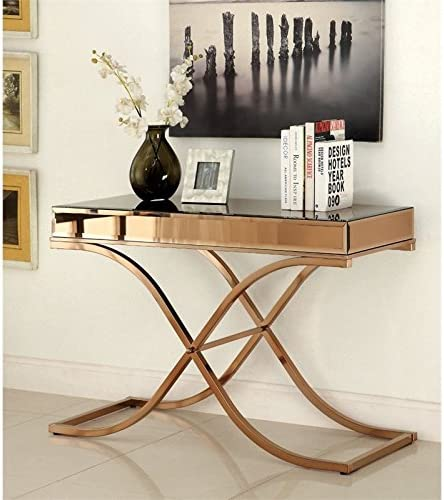 BOWERY HILL Mirrored Console Table in Copper