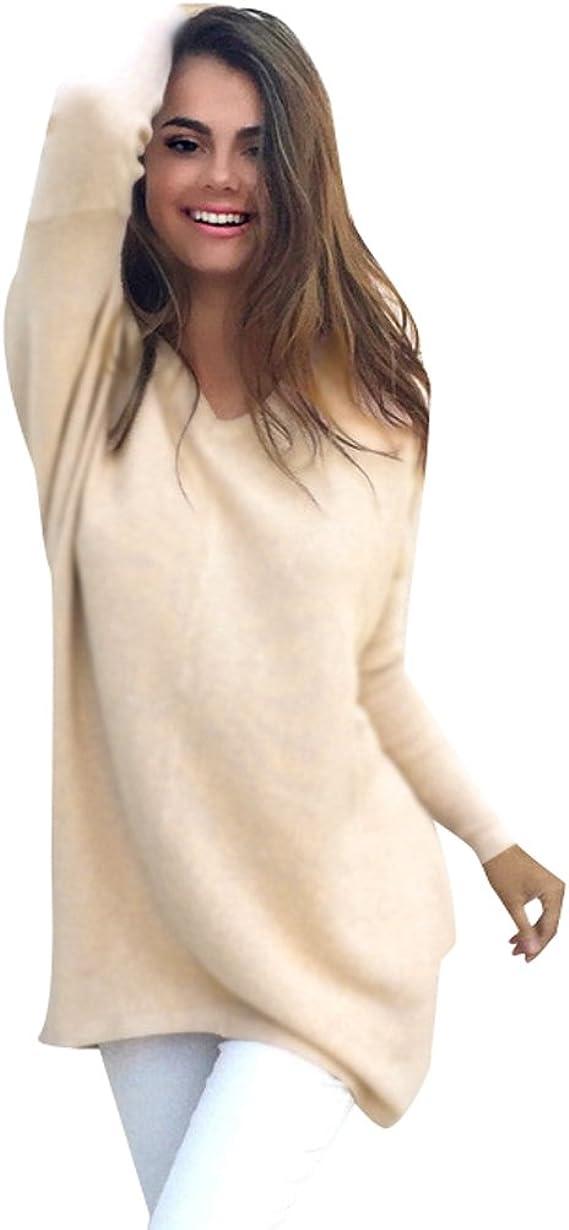 Suéter Jersey Largo Jerseys de Punto Mujer Sueter Cuello V de Dama Sueteres Largos Prendas de Punto Sueters Tejidos Pullover Tejido Mujeres Jerséy Suéteres Invierno Anchos Jumper Tops