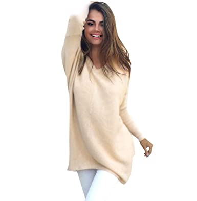 braderie comment acheter vraiment à l'aise Pull Long Maille Femme Pull Tunique Oversize Manches Longues Col V Ample  Chaud Hiver Epais Pull Robe Habillé Sweater Loose Large Tricot Chandail ...