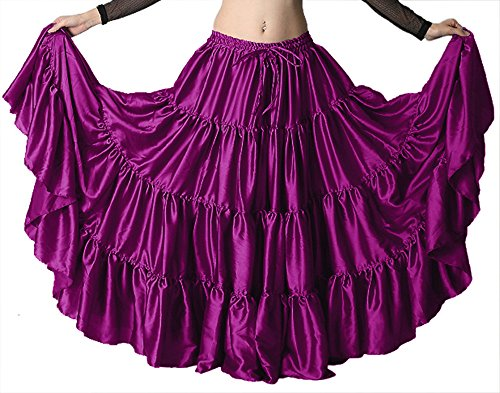 Indian Trendy Women's Satin 12 Yard 4 Tiered Gypsy Belly Dance Skirt Flamenco (One Size, Violet Red)