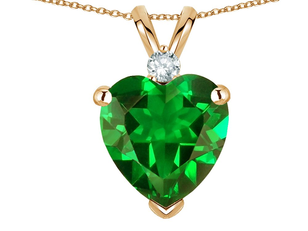 Star K 8mm Simulated Emerald Heart Pendant Necklace 14 kt Yellow Gold