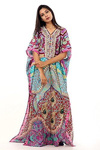Luxury beach wear cover up caftan full length embellished 100% silk 141 by Leena Fahhion World