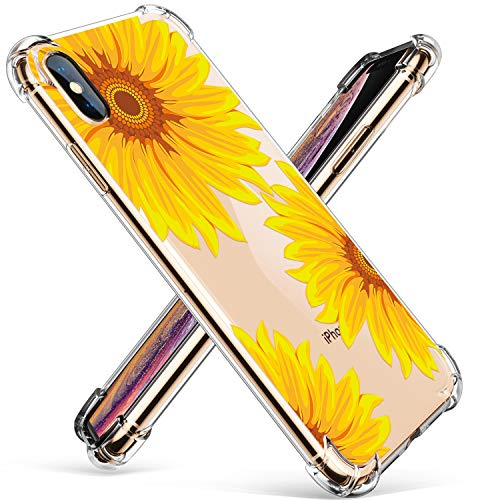 GVIEWIN Compatible for iPhone Xs/X Case, Clear Flower Pattern Design Soft & Flexible TPU Ultra-Thin Shockproof Transparent Floral Cover, Cases iPhone X/iPhone 10 (Sunflower)