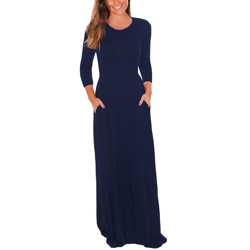 JESPER Women Three Quarter Sleeve Solid Color Pocket Loose Casual Dress Maxi Dress US 0/2 Navy Blue