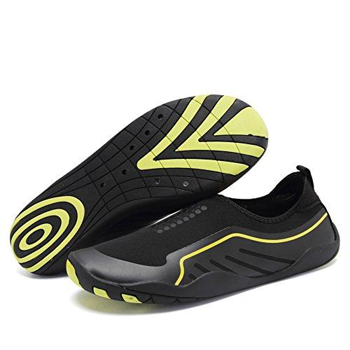 CIOR Men Womens Barefoot Quick-Dry Water Sports Aqua Shoes With 14 Drainage Holes For Swim, Walking, Yoga, Lake, Beach, Garden, Park, Driving J.black
