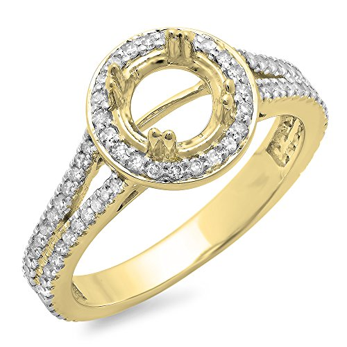 (0.50 Carat (ctw) 10K Yellow Gold Round Cut Diamond Semi Mount Bridal Engagement Ring 1/2 CT)