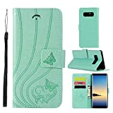 UNEXTATI Galaxy Note 8 Stand Magnetic Flip Cover Card Holders & Hand Strap Wallet Case with Kickstand for Samsung Galaxy Note 8 (Green)