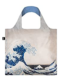 LOQI Reusable Tote Bag, The Great Wave, Multi-Colored Print, International Carry-on