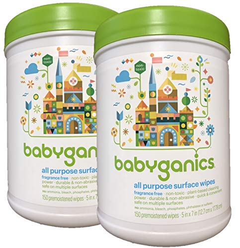 Babyganics All Purpose Surface Wipes, Fragrance Free, 300 Count (Contains Two 75-Count canisters)