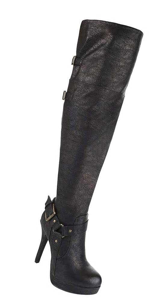 Damen Schuhe Stiefel Schuhe Damen High Heels Stiletto Overknee Schwarz Blau Braun 35 36 37 38 39 40 41 42 Bronze 97b4d9