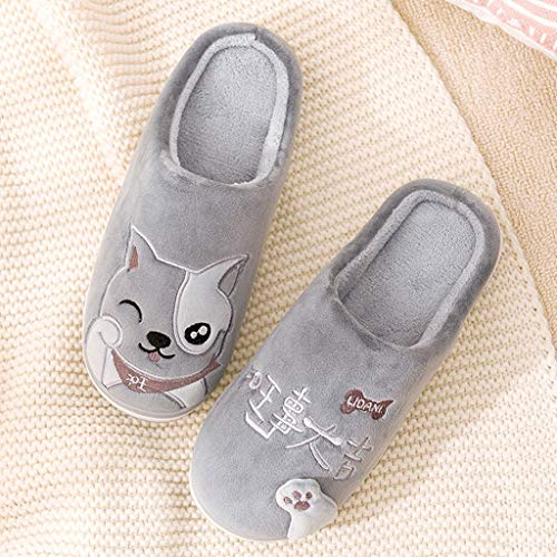 LIMING-flip flop Warm Slippers - Couple Slippers Indoor Home Month Shoes Embroidered Autumn and Winter Cotton Slippers Male (Color : W, Size : ()