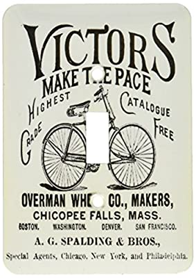 3dRose lsp_164547_1 Victors Bicycles Black and White Vintage Light Switch Cover