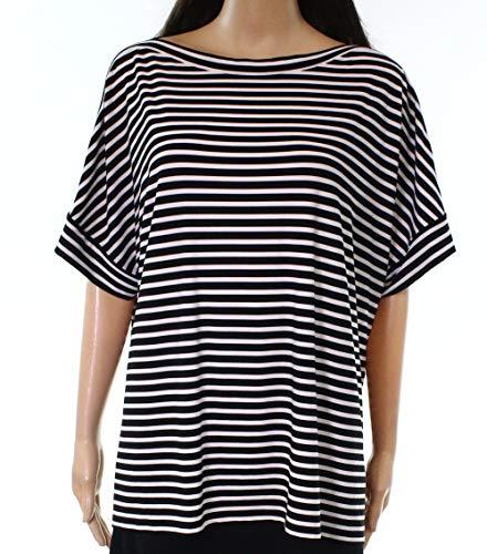 Lauren Ralph Lauren Women's Striped Jersey T-Shirt Polo Black/White X-Small