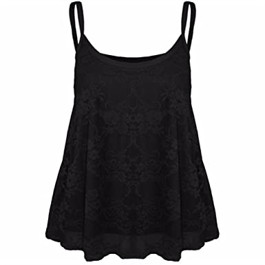 ladies floral lace full mesh camisole womens strappy cami flared swing vest 8-26