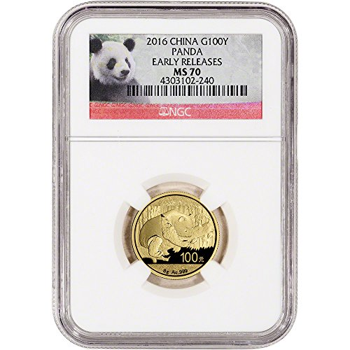 - 2016 CN China Gold Panda (8 g) Early Releases Panda Label 100 Yuan MS70 NGC
