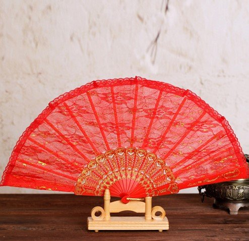 Red Sequins Spanish Hand Fan Lace Fabric Dancing Folding Fan Party Decoration Fans Girls Women by Hand Fan