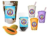 10+ Drinks Papaya Boba Tea Kit: Tea Powder, Tapioca Pearls & Straws By Buddha Bubbles Boba