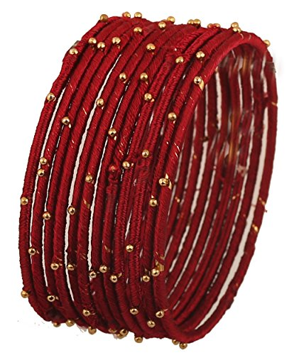 Touchstone Silk Thread Bangle Collection Handcrafted Faux Silk Thread Maroon Golden Color Beads Bangle Bracelets Designer Jewelry for Women in Antique Gold Tone. Set of 12.