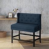 28 bar stools - Laraine Winged Tufted Fabric 2 Seater 28 Inch Barstool, Navy Blue