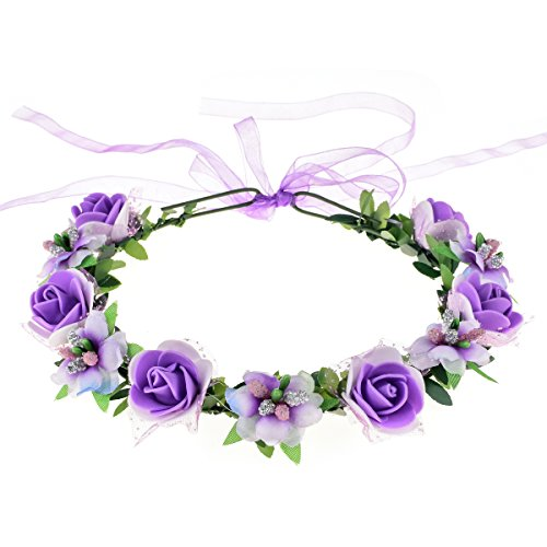 June Bloomy Rose Floral Crown Wreath Girls Flower Headband Boho Garland Halo Headpiece (Purple)