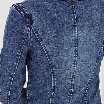 BaoCore Veste Femme Chic Grande Taille Veste en Jean Femme Longue Large Manche Longue Denim /élastique avec Diamant R/étro Blouse sans Col Jacket Vintage Bicolore