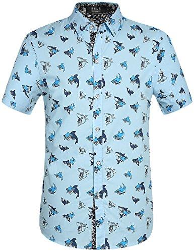 SSLR Men's Shark Print Casual Button Down Short Sleeve Shirt (Large, Sky Blue)