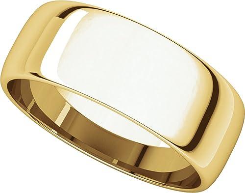 Mens 14K Yellow Gold 5mm Light Half Round Wedding Band Ring