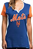 Ladies New York Mets Time To Shine Notched Scoop Neck Rhine Stud Short Sleeve T Shirt