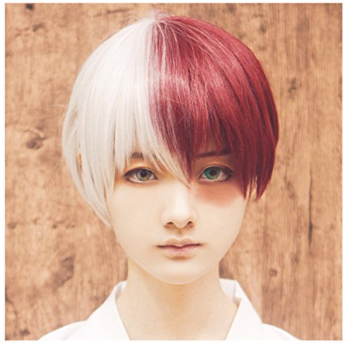 ColorGround Half Silver White Half Red Cosplay Wig for Halloween -