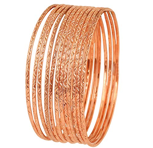 - Touchstone New Indian Bollywood Artistically Handcrafted Mesmerizing Charming Assorted Lovable Patterns Designer Jewelry Bracelets Bangle Set of 12 in Copper Tone for Women.