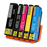 WELPOP 1Set Remanufactured Epson 410 ink cartridges, 5 Pack (1 Black,1 Photo Black,1 Cyan, 1 Magenta, 1 Yellow) Used For Epson Expression Premium XP-530 XP-630 XP-635 XP-640 XP-830 printers