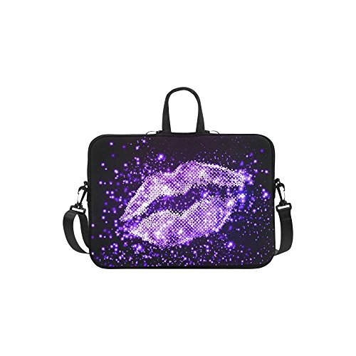 """InterestPrint Classic Personalized Bling Glitter Purple Lip Love 13"""" - 13.3"""" /Macbook Pro Air 13 Inch Laptop Sleeve Case Bags Skin Cover for Lenovo"""