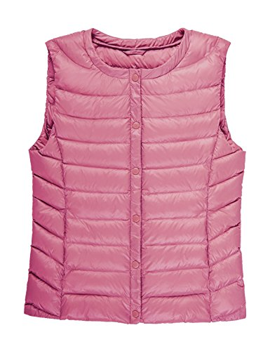 - CHERRY CHICK Women's Ultralight 90% Genuine Down Filled Vest (XXS, Pink)