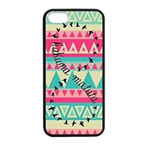 CiCi Mode Aztec Colorful Hakuna Matata Happy Life Nice Durable Rubber Silicone Cover Protecotor Bumper Case for Apple iPhone 5,5S pc hard (Laser Technology)