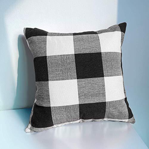 JUEYINGBAILI Throw Pillow Covers 18×18 Decorative Buffalo Check Plaid Pillow Cover - Farmhouse Christmas Square… 5
