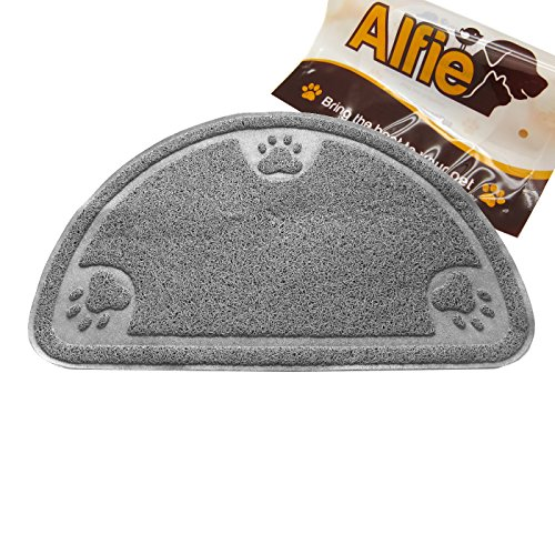 Alfie Pet by Petoga Couture - Gwenith Cat Litter Mat - Pattern: Grey Round