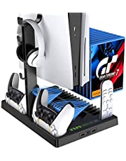 Black PS5 Console PlayStation 5 Charging Station with Cooling Fan System 15 Game Slots, Vertical Stand for PS5 Digital Edition/Ultra HD Console, PS5 Accessories Organizer