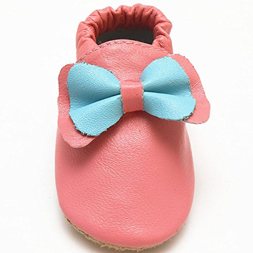 Sayoyo Suaves Zapatos De Cuero Del Bebé Zapatillas arco rojo