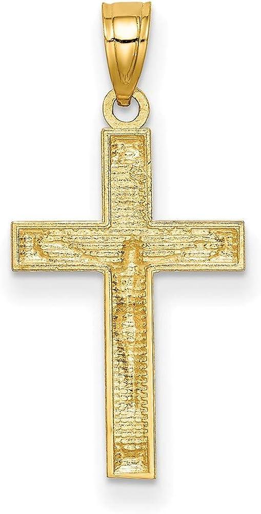 14k Yellow Gold Diamond-cut Crucifix Pendant